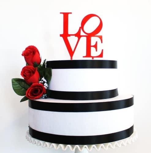 Red LOVE Cake Topper