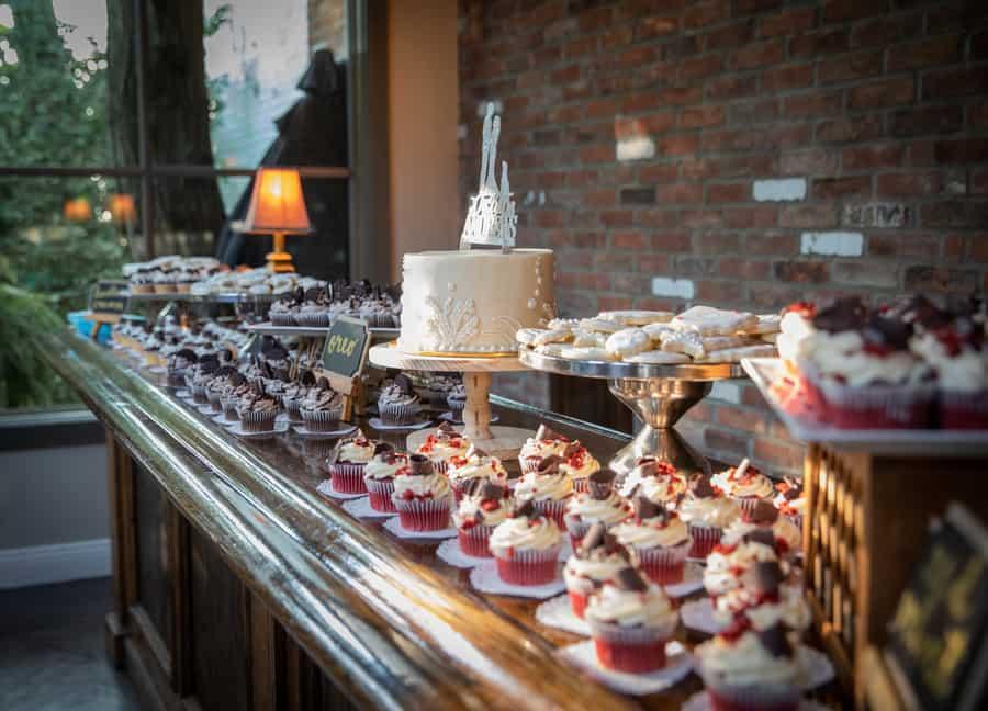 cupcake table at a wedding reception