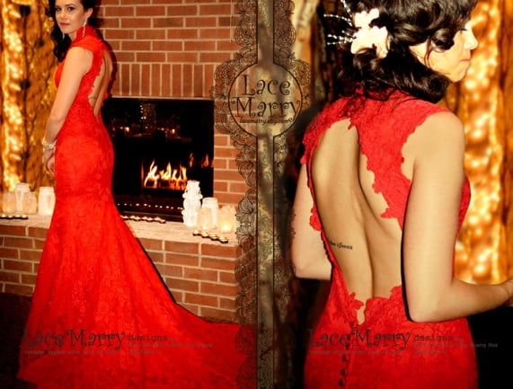 5 Romantic Red Wedding Dresses Yes You Can Wear Red Down The Aisle