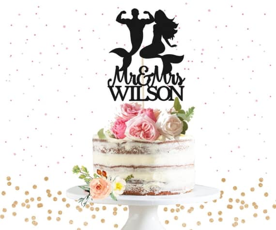 Mermaid and Merman Cake Topper