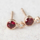 Dainty ruby studs earrings 14k solid gold