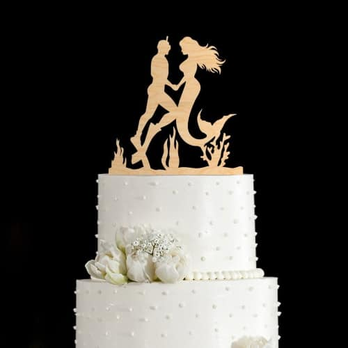 Mermaid and Diver Wood Cake Topper