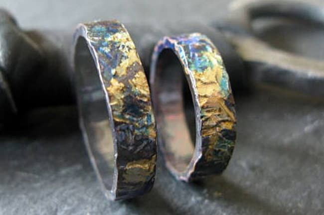 Textured Oxidized Unique Mens Ring