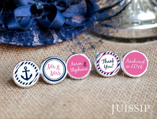 Nautical theme Hershey Kiss labels
