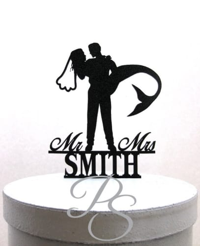 personalized Mermaid Bride and Groom Silhouette
