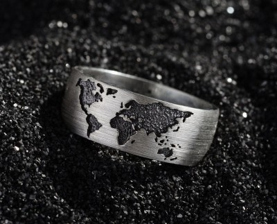 Silver World Map Band