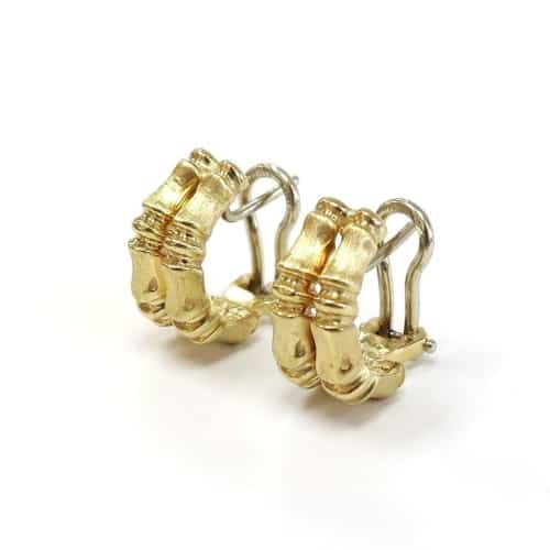 14K Gold Double Hoop Bamboo Earrings