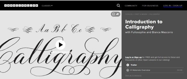introduction to calligraphy course on CreativeLive