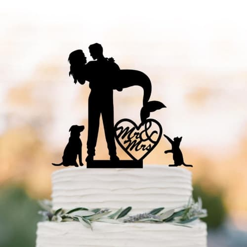 Mr. and Mrs. Mermaid Wedding Cake Topper with dog and cat