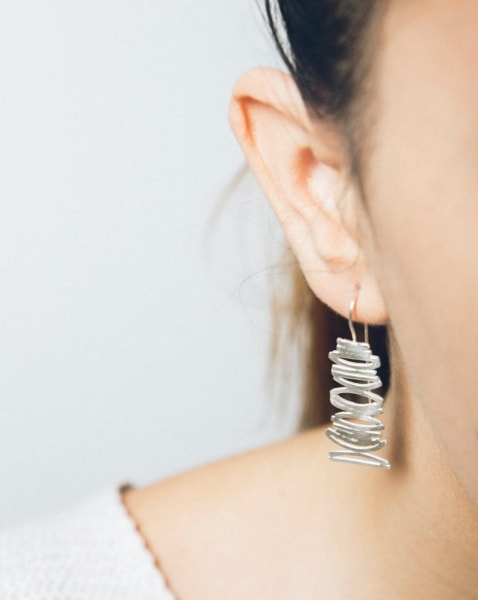 Silver Bamboo Minimalist Earrings