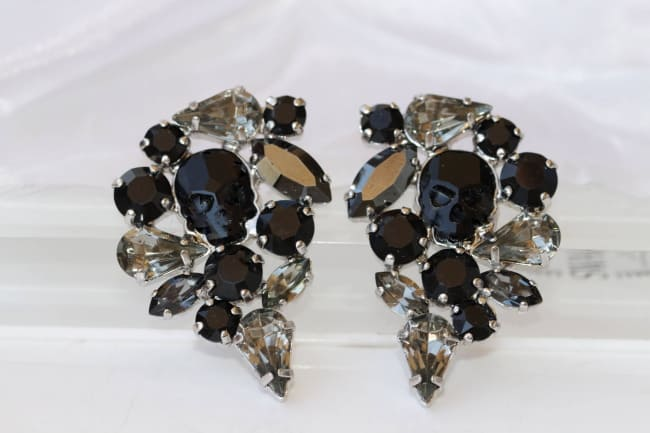 Black Swarovski Skull Earrings
