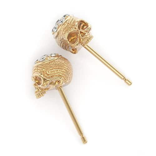 Diamond Top Skull Stud Earrings