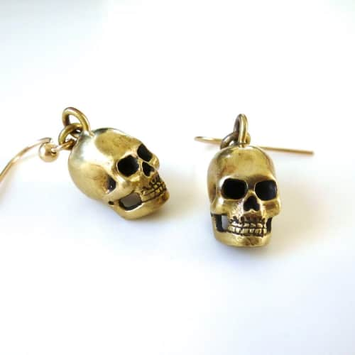 Hand Carved Brass Skull Earrings