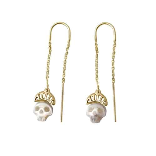 skull pearl threader earrings