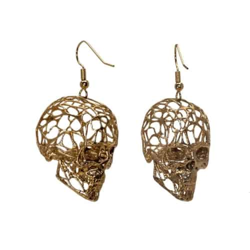 3D wireframe skull earrings