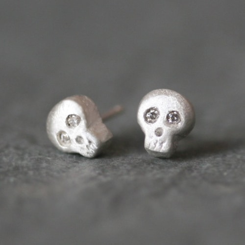 Sterling Silver Baby Skull Earrings
