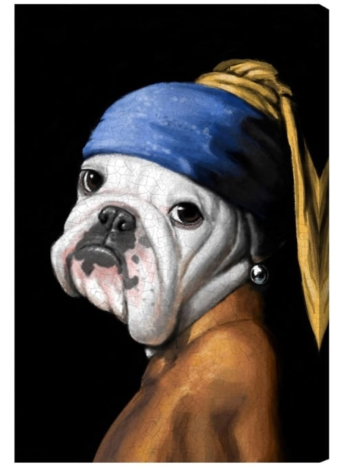 Dog with Pearl Earring Canvas art