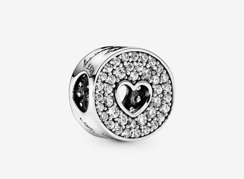 Pandora Pavé & Heart Charm 25th anniversary