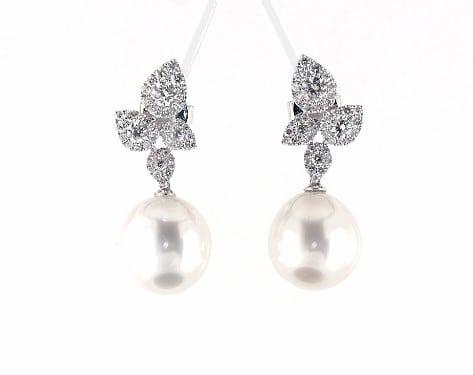 Pearl and diamond earrings for 30th wedding anniversary gift