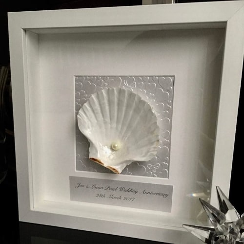 Pearl and Shell art for 30th Anniversary gift for parents