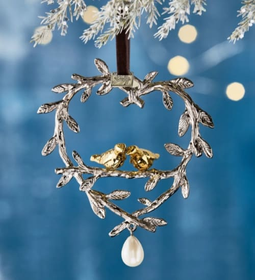 Two Turtle Doves Christmas Ornament with drop pearl