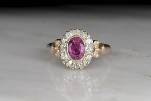 Vintage Rose Gold Pink Tourmaline and Diamond Halo