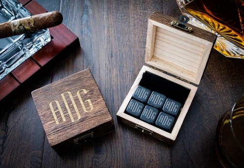 Custom Engraved Whiskey Stones in wood box