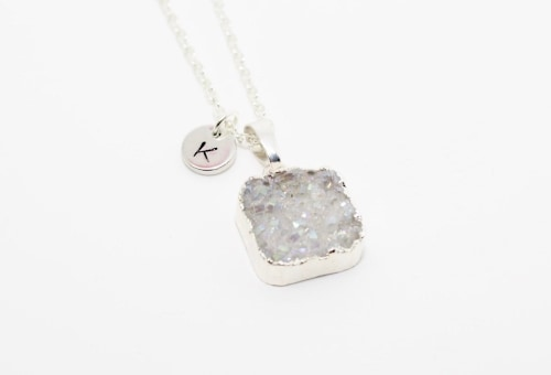 Druzy Necklace with Hand-Stamped Initial for bridesmaids gift