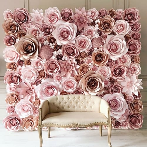 Elegant Wedding Paper Flowers Backdrop