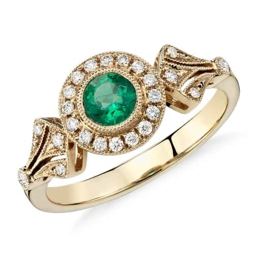 Emerald and Diamond Halo Vintage-Inspired Milgrain Ring
