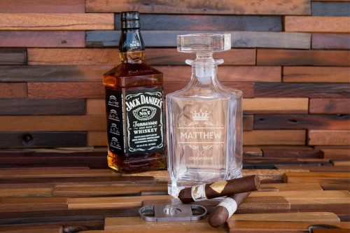 Engraved Whiskey Glass Decanter