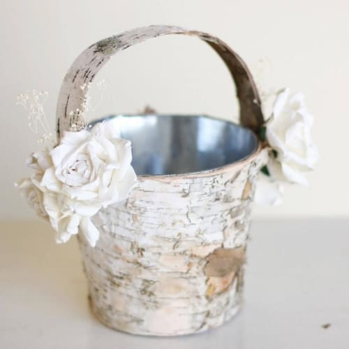 Flower Girl Basket Birch Wood Rustic