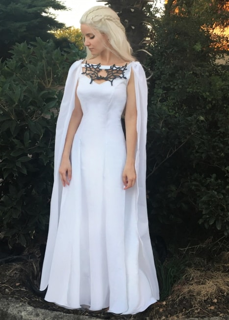 Game of Thrones White Dress, dragon necklace, cape