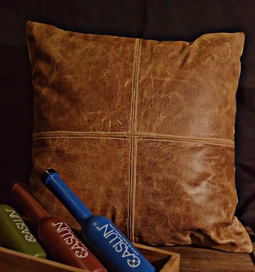 Leather Pillow cover for 3rd anniversary gift