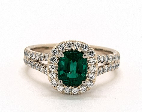 Green Emerald Cushion-Cut Halo Engagement Ring
