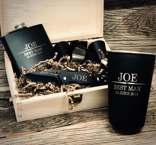 Groomsmen flask and knife Gift Set