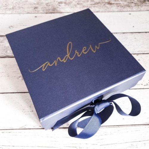 Blue Gift Box engraved with name