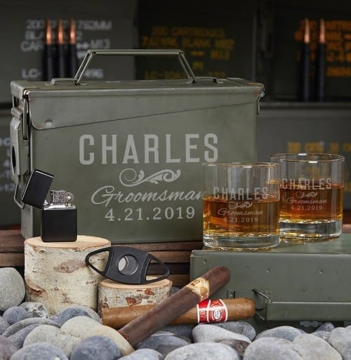 Engraved Ammo Can with whiskey glasses cigar cutter