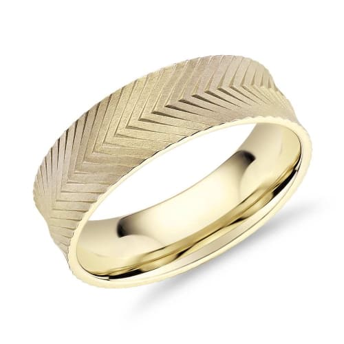 Herringbone Engraved Gold Ring​​​​​