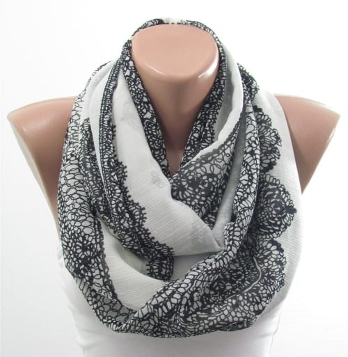 Lace Print Scarf for anniversary gift