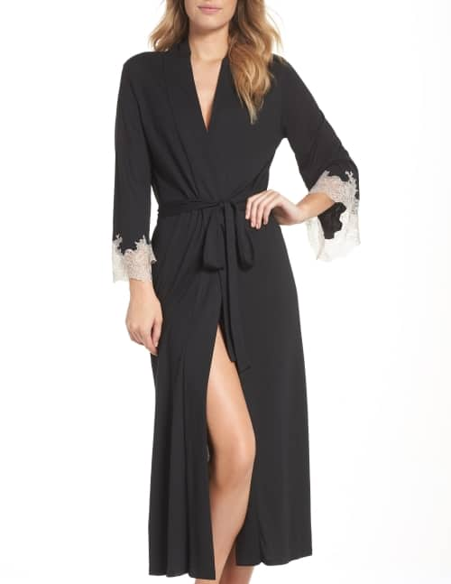 Black women's robe with lace trim