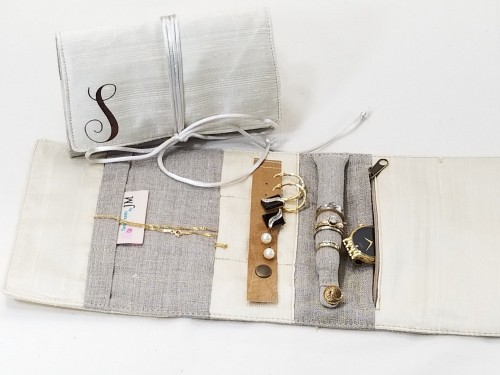 Linen Jewelry Roll for 12th anniversary gift
