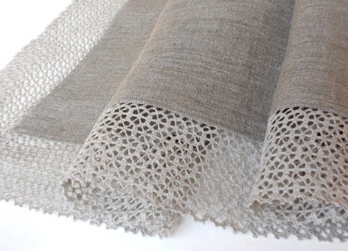 Linen table cloth with lace edge