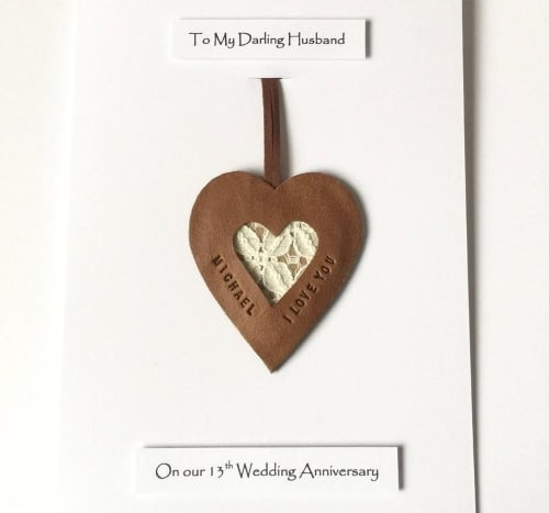Personalized 13th Lace Wedding Anniversary Card