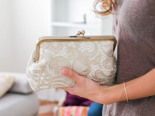 Personalized Lace Clutch for 13th anniversary gift