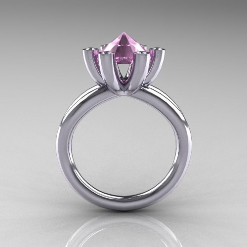 Flower Pink Topaz Engagement Rings