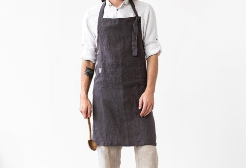 Rustic Linen Apron for husband anniversary gift