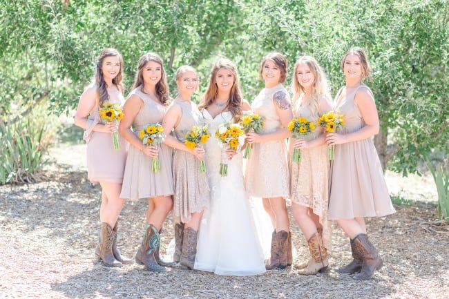 Rustic Orchard Wedding with Sunflowers & Cowgirl Boots! feature