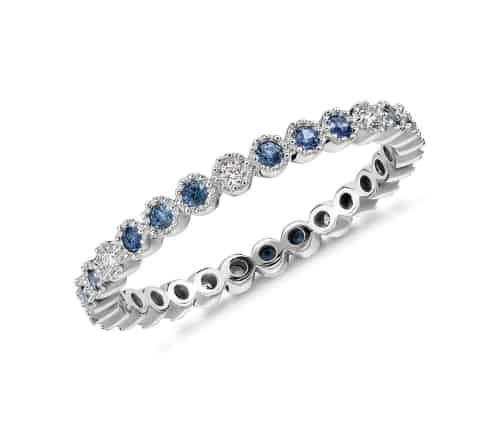 Sapphire and Diamond Eternity Ring for 5th anniversary gift