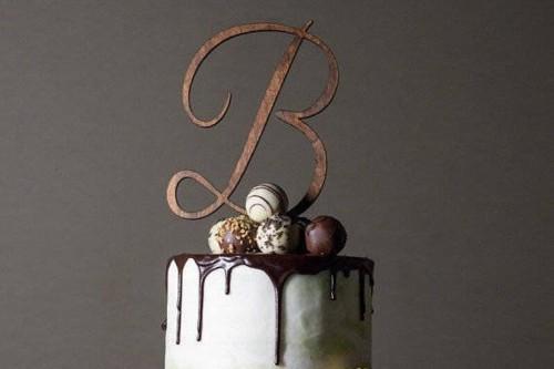 Script Letter Wedding Cake Topper